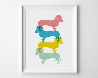 Playroom Decor, Dachshund Wall Art, Dachshund Poster, Nursery Gift, Dachshund Nursery, Art Print, Woodland Nursery, Dachshund Print