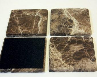 4 inch Emperador Dark Marble Drink Coasters,1 set of four