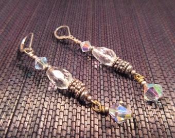 Vintage Sterling Silver Beaded Drop Earrings