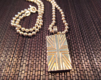 Sterling Silver British Flag Necklace