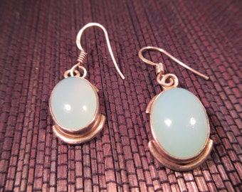 Sterling Silver Mint Green Gemstone Earrings