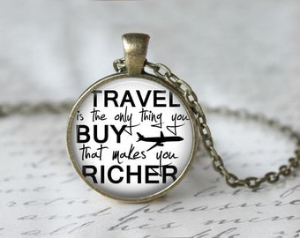 Travel Lovers Pendant Necklace or Keychain