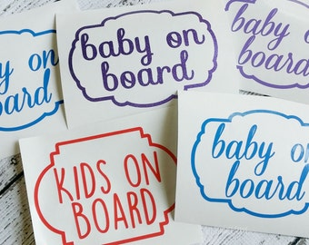 Baby On Board/ Kids on Board Car Decal, 5 inches x 3.5 inches