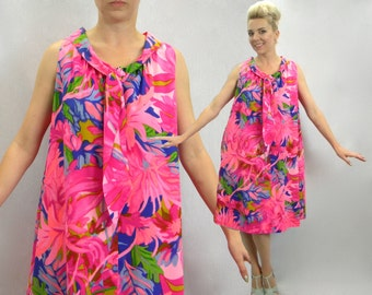 60s Bright Pink Trapeze Dress   Magenta Floral Tent Dress,   Lord & Taylor   Large-Extra Large