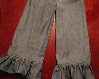 Lightweight Denim Ruffled Infant/Toddler/Girls Pants Soft and Comfy