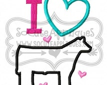 Embroidery design 5x7, I heart Show Steer embroidery sayings, socuteappliques, farm embroidery, country applique, cowgirl