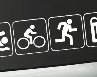 Swim Bike Run Beer Triathlon Window Decal