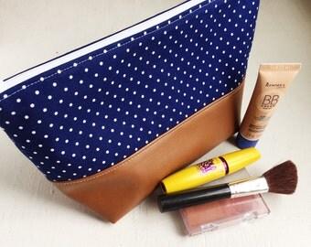 toiletry bag, Big Sugar Bag, navy, vegan leather, cosmetics case, project bag