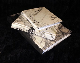 Black Silver Grey Suminagashi Japanese Handmade Book Diary Journal Notebook Sketchbook