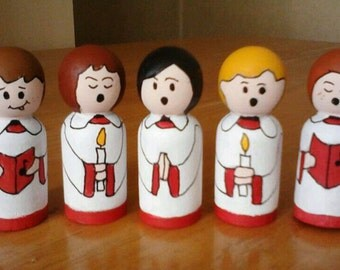 Christmas decorations wooden peg doll Christmas choir Christmas mantle decoration, Christmas ornaments boy/girl peg people