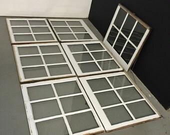 Turn of the Century Architectural Salvage, Vintage 1910 Distressed Sash Windows, Original 6 Lite Wavy Glass, Antique Dark Wood White Paint