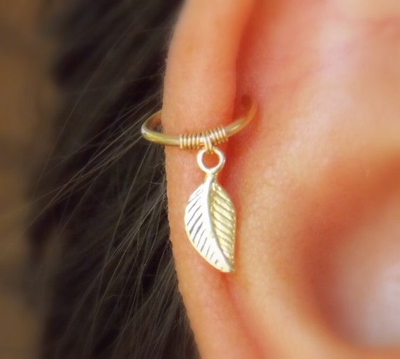 cartilage earring tiny leaf gold hoop gold cartilage hoop