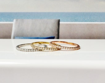 Eternity Band Ring • Round Stackable Rings • Safe to Get Wet • 14K Gold Engagement Ring • Sweet Minimalist-Looking Eternity Rings