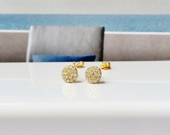 Round gold circle CZ earrings pave with dazzling cubic zirconias • Post back • Safe To Get Wet • 6mm • Best Low Price