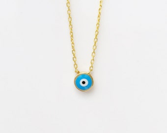 evil eye necklace in gold plated Sterling Silver, Safe to get wet, with enamel lucky eye, best seller, great gift, DEAL IS ON