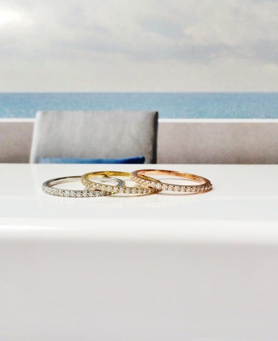 Eternity band ring, 14K Gold Engagement ring, Round eternity band, Stackable rings