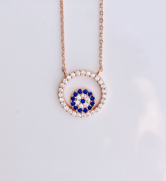 evil eye necklace rose gold zirconia Real rose gold plated Sterling Silver and Cubic Zirconia, Safe to get wet, SALE
