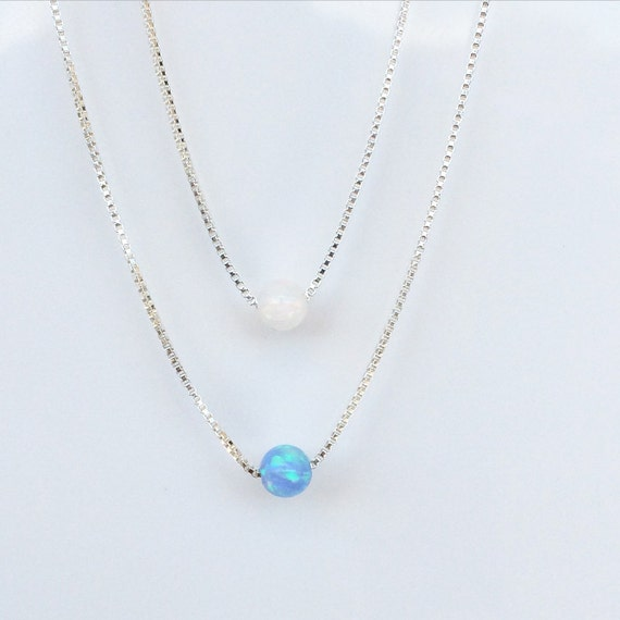 opal bead necklace real sterling silver chain, blue or white ball, Safe to wet, 7 different chain length to choose, LOWEST PRICE on EARTH