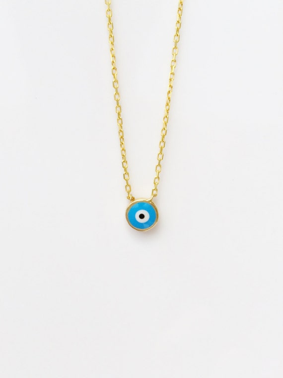 evil eye necklace gold plated Sterling Silver, Safe to get wet enamel lucky eye, best seller, great gift, ON SALE NOW