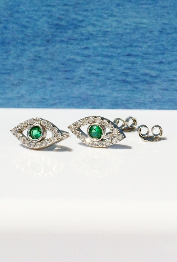 eye cz stud earrings in solid real sterling silver and zirconia pave, safe to get wet, ON SALE TODAY