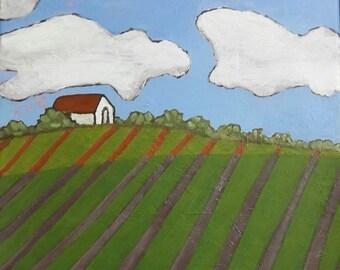 Landscape Nature Painting, White Barn Farm Acrylic Painting