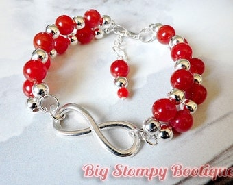 Infinity with Red Agate Silver Plated Nickel and Lead Free Gemstone Bracelet