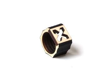 Stylish laser cut wooden men's ring - model 6/1