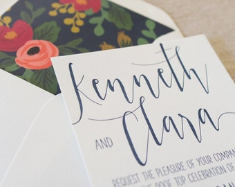 Letterpress Modern Script Wedding Invitation Suite