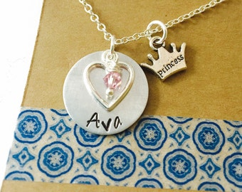 Princess Necklace, Name Necklace, Princess Crown Necklace, Little Girl Necklace, Swarovski Crystal Birthstone Sterling Silver Plated Chain