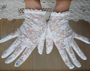 50s, Wedding gloves, off white gloves, Lace gloves, Bridal gloves, Antique style, Vintage gloves, gloves, lace mitten, Retro, Rockabilly