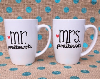 Wedding Coffee Mug Set - Mr and Mrs Coffee Mug Set - Hand Painted Coffee Mug Set - Anniversary Gift - Engagement Coffee Mugs - Bridal Shower