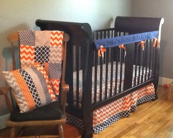 Crib Bedding Set, Navy Blue, Gray and Orange, Crib Skirt, Fitted Sheet and Minky Patchwork Baby Blanket, Nursery Decor, Baby Shower Gift