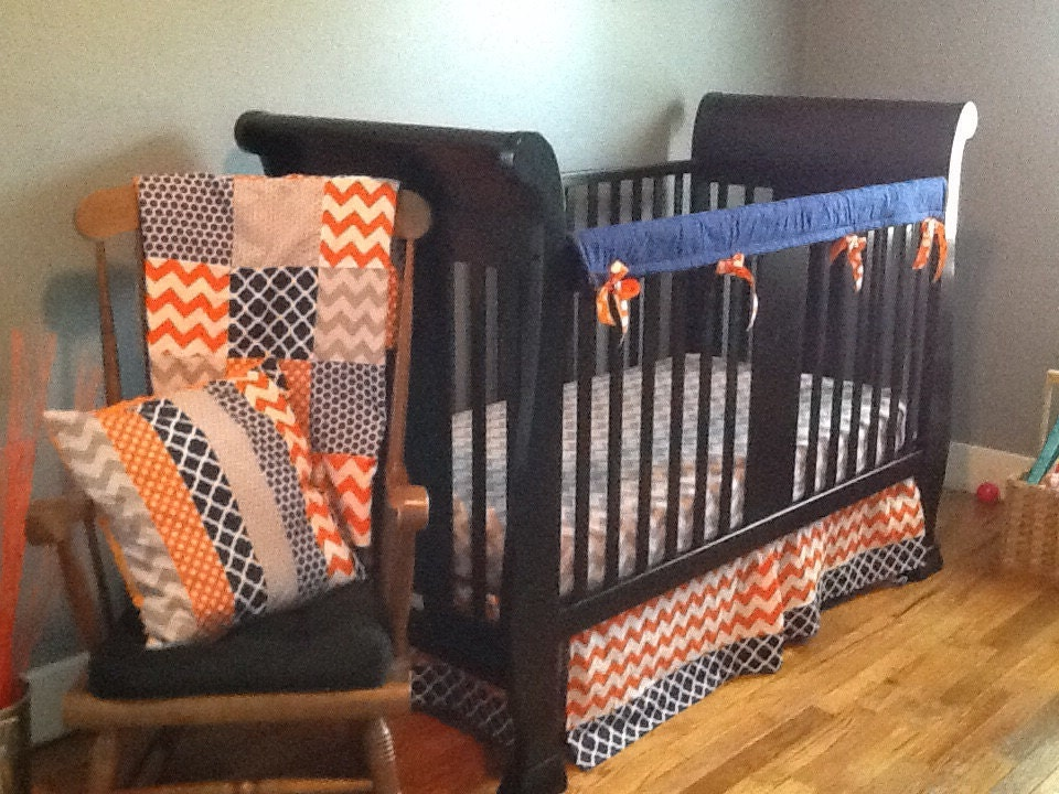 orange crib bedding
