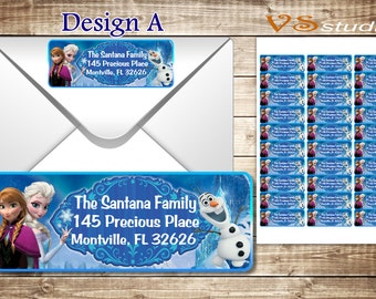 Frozen return Address Labels, Personalized pdf file