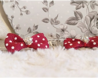 Bow Dotted Red Silver Alligator Hair Clips