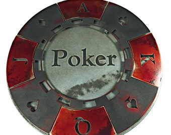 Poker Cards Vintage Black and Red Poker Chip