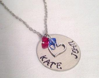 Mom necklace, Mothers necklace, Personalized handstamped necklace, Swarovski crystal necklace, birthstone necklace, heart necklace