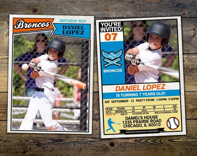 Baseball card invitation, vintage, retro, // All Star Little Slugger Birthday //  BIRTHDAY invitation, sports birthday, football card