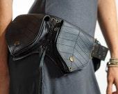 LEAF - Handmade Leather Utility Belt With Pockets Renaissance Festival Hip Pockets Festival Belt Burning Man Steampunk Belt Zootzu Black