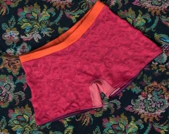 GenderLess boxer - light red flowered lace, orange waistband and dark purple elastic