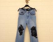 Style #1305 Custom black lace goddess jeans