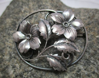 Beautiful Sterling Silver Floral Brooch, Deep Silver Color, Great Detail