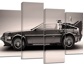 Back to the future car / set of 4 canvas prints /32x20