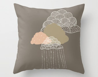 Clouds Pillow Decorative - Brown or blue  Cover and /or insert 16x16 18x18 20x20 - Gift for Women Accent Children Cute Rain Pillowcases Home