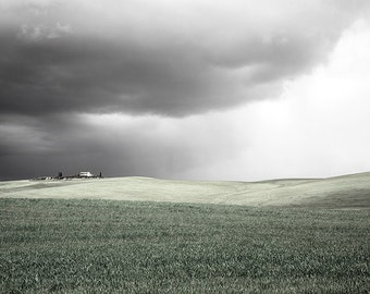 Hills photography, black and white, hills, Tuscany landscape, Tuscany Photography, cloudy sky, Italian landscape. Fine Art photography.
