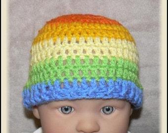 Newborn Baby Crocheted Rainbow Beanie