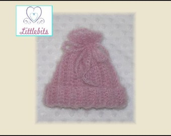 Newborn Baby Crocheted Pink Mohair Drawstring Beanie