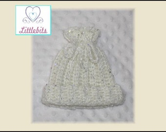 Newborn Baby Crocheted Soft White Wool with Opalescent Sequins Drawstring Beanie