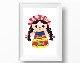 Mexican Doll Chanchita Watercolor Art Print --- Beautiful Home Decor Piece