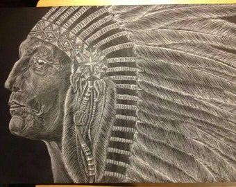Original white charcoal drawing. Native American chief. 12in x 17 1/2in on black paper.